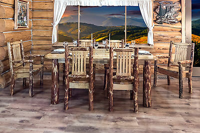 Rustic Log Kitchen Table Chairs Set Amish Made Lodge Dining Room Furniture Sets - Amish Furniture Dining Table