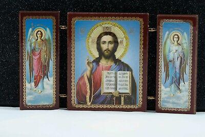 Triptych Orthodox Church Icon Jesus Chris Angel Michail Gabriel Тройник Ангелы