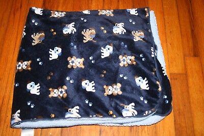 Garanimals Blue Puppy Dog Baby Blanket Brown White Sherpa Paw Print Soccer Ball