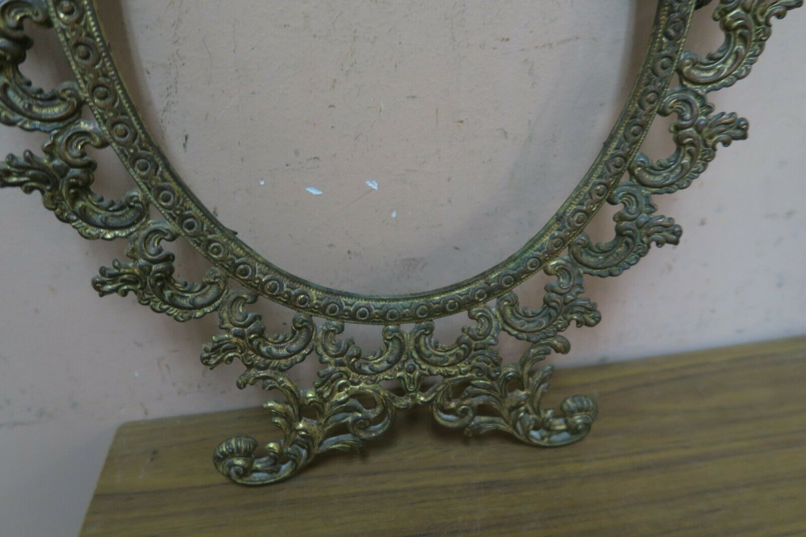 "Vintage / Antique Gilded Cast Iron Ornate Rococo Picture - Mirror Frame 11"" x17"""