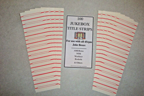 Jukebox Blank Title Strips, Jukebox Labels, 45rpm, 100 Strips, From the USA!