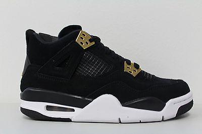 Youth Nike Air Jordan Retro 4 Royalty Black Metallic Gold Gs 408452 032 Size 7Y