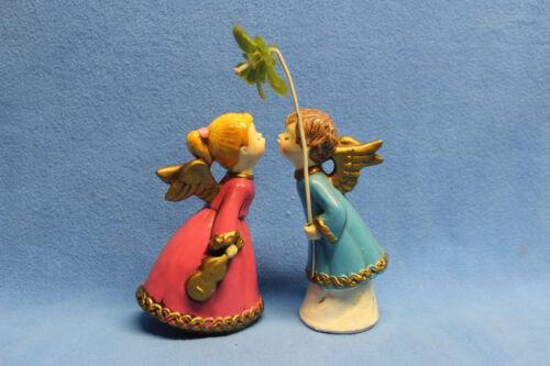 "Vintage Paper Mache Kissing Angels Under Mistletoe Christmas Figurines 6"" Tall"