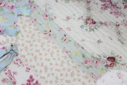 4PC Shabby Cottage Pink Chic Patchwork Cotton Bed Crib Quilt Bumber Skirt Set