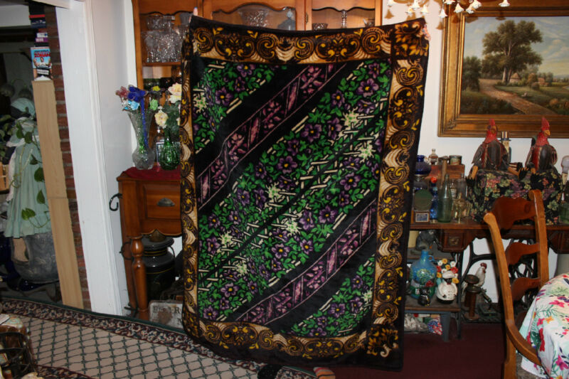 Stroock Amish Horse Buggy Blanket-Purple Flowers Green Ivy-Large & Heavy Blanket