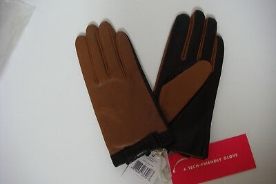 Kate Spade New York Leather Short Color block Glove Praline Black XL Tech (Short Block Tech)