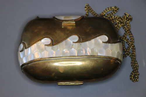 Antique Art Deco Brass & Mother of Pearl Ocean Wave Inlay Clutch W/Chain Strap