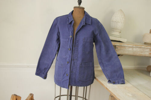 Jacket Vintage French blue coat button up Work wear heavy cotton denim fabric