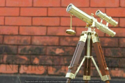 Nautical Marine Mini Double Barrel Brass Telescope With Wooden Tripod Stand Gift