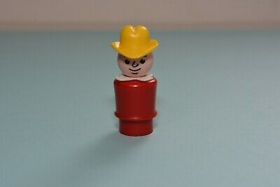 Vintage Fisher Price Little People WHOOPS Dad Deep Red Body Yellow Cowboy Hat