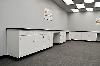 22 X 15 Fisher American L White Metal Lab Cabinet Group W Tops And Desks