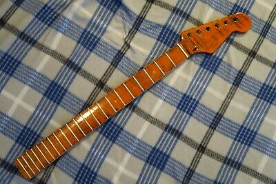"STRATOCASTER STRAT NECK FLAME Maple 21 FRET MODERN C 9.5"" Radius FIGURED!"