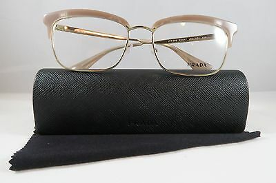 Prada VPR 08S UEC-1O1 Peach/Gold New Authentic Eyeglasses 55mm w/Case