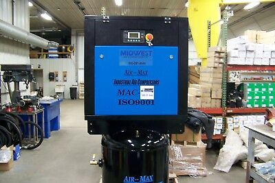 Air-max 7.5 Hp 1 Phase Mac-7bs New Ind. Rotary Screw Compressor 80 Vert.