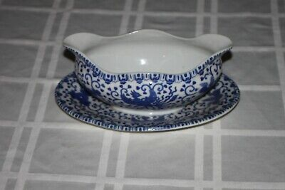 """RARE Japanese Blue & White Phoenix Bird Porcelain Gravy Boat & Underplate 7 1/2"""" for sale  Shipping to South Africa"""