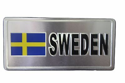SWEDEN COUNTRY FLAG-SILVER LICENSED STICKER FLAG PLATE..SIZE: 6 X 3 INCH ()