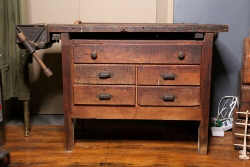 Antique Workbench Kitchen Island Machinist Desk Industrial Design with Vise