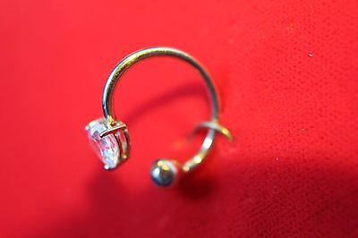 14K. Solid GOLD Clear Heart Round Belly Button NAVEL Bar RINGS Piercing Jewelry