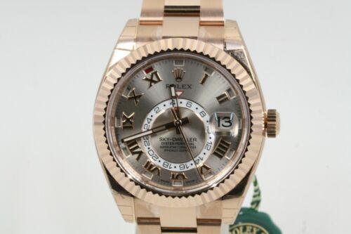 Rolex Rose Gold Sky-dweller Model 326935 Silver Roman Numeral Dial