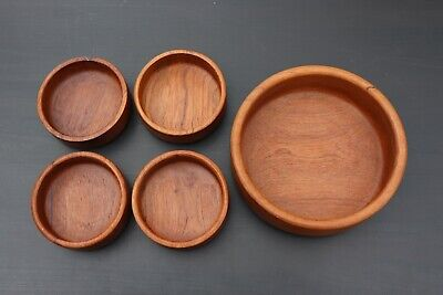 1970s STAVED TEAK Salad serving BOWL Space age shape In the style of Dansk Mid Century Modern Panton Era kitchen chic looks unused