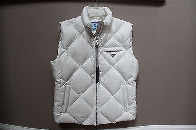 New sz 48 PRADA White Down Puffer Vest Logo Women's Sleeves Coat Outerwear