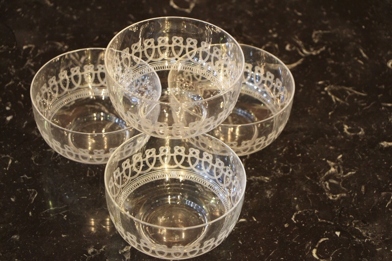 4 antique pall mall engraved crystal large desert bowls dishes English Art Deco