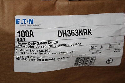 Eaton Dh363nrk 100a3p600v250dc Hd Fusible Safety Switch Nema 3r New