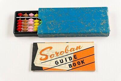Vintage Miniature Japanese Soroban Abacus Box + Guide Book
