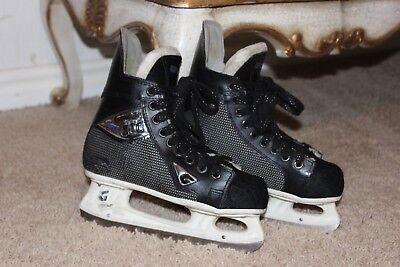 GRAF SUPER 101 Black Fabric covered Ice Hockey boots Skates Junior size - Graf Boot