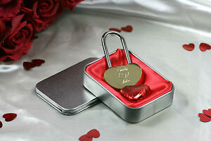 ENGRAVED PERSONALISED HEART LOVE LOCK PADLOCK VALENTINES ANNIVERSARY GIFT TIN
