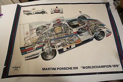 Vintage Martini Porsche 936 Cutaway Poster (PSTR) Sign World Champion 1976
