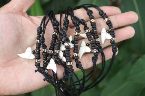10 Handmade Shark Tooth Necklaces Black Round Bone Beads Wholesale (USPS only)