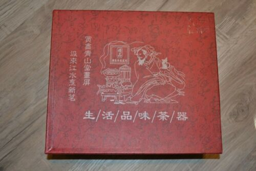 VINTAGE Chinese Miniature Porcelain Tea Set Red Box Decorative Box in Silk. NEW