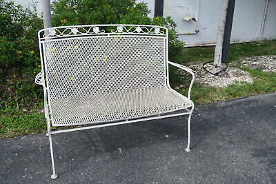Mid Century Modern Painted Metal Patio Outdoor Chair Bench 1088 Metal Modern Bench