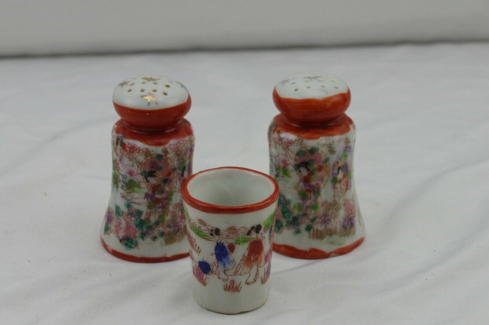 Japanese Kutani Satsuma Scenic Folk Art Large Salt Pepper Toothpick Holder Set - $11.99