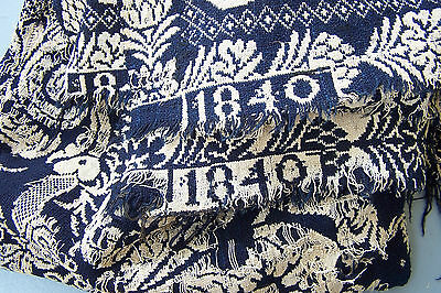Antique JACQUARD Woven Coverlet, date 1840, Center Seam, Blue White Reversable