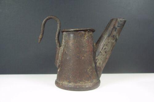 Antique Tin Miners Oil Wick Teapot Cap Lamp Early Coal Mining Lighting