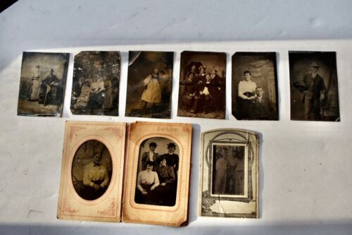 Lot of 9 Antique Tintype Family Photographs 2 1/2 X 3 1/2 inches #4232