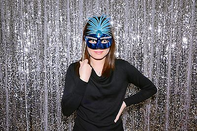 - 8.5ft(width)*6ft(height) silver Sequin Backdrop for Photo Booth and Studio.