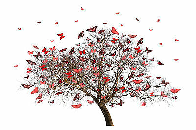 STUNNING ABSTRACT TREE OF BUTTERFLIES CANVAS #20 A1 HOME DECOR PICTURE WALL ART