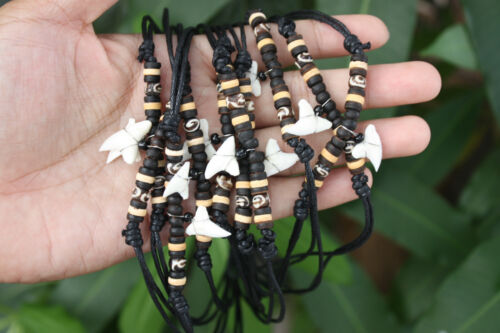 10 Handmade Shark Tooth Necklaces Pale Coconut Beads Wholesale (USPS only)