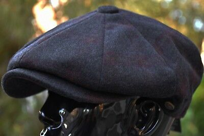 Men's Wool Newsboy Cap, Driving Cabbie Applejack Plaid Black Golf Hat Ns2320