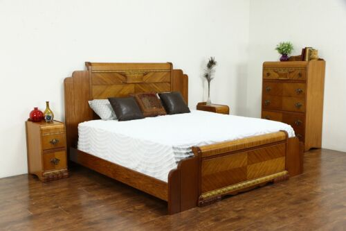 Art Deco Waterfall Design Vintage 4 Pc. Bedroom Set, King Size Bed #36311