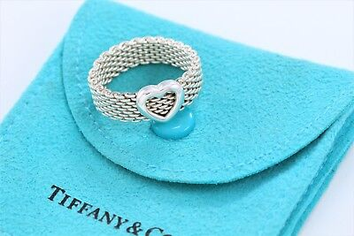 Tiffany & Co Somerset Heart Mesh Sterling Silver Love Band Ring Size 6 w/ Pouch