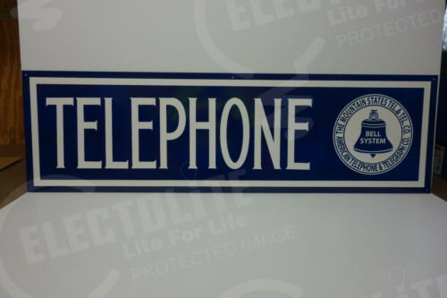 "BELL SYSTEM AMERICAN TELEPHONE DIE CUT STEEL ENAMEL SIGN UNIQUE 14""H X 47.75""W"