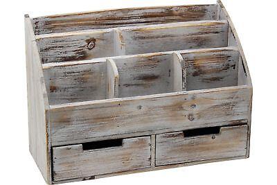 Vintage Rustic Wooden Office Desk Organizer Mail Rack For Desktop Tabletop Or