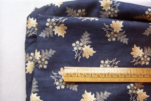 Vtg Antique Floral/Leaf on Blue Cotton Dress/Quilt  Fabric