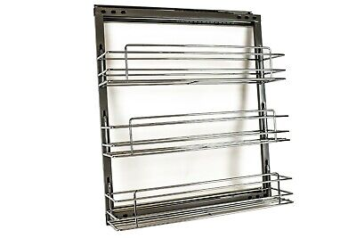 ML-017C Chrome Steel Spice Rack for Base Cabinet Pull Out 3 Shelves