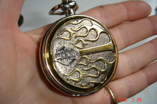 RARE Harley Davidson Ride Free/ Gold Fire Flames Face Franklin Mint Pocket Watch