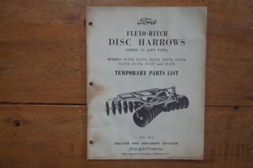 1955 Ford Flexo-Hitch Disc Harrows Series J Lift Type Temporary Parts List.